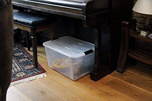 Iris–Juego de cajas con Comercio y tapa, sistema de ordenación, plástico, tapa Transparente, Set de 3 (Small)