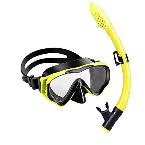 et Kinder - Taucherbrille Anti-Fog und Trocken Schnorchel - Anti-Leck Tauchmaske Dry Schnorchel - Schnorcheln Set für Jungen Mädchen - Rosa, Blau, Schwarz, Gelb ()