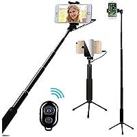 AIYOOE Selfie Stick Stativ, Selfiestick mit Bluetooth Fernauslöser, Handy Stativ mit Spiegel für iPhone8 7 7Plus 6S 6S Plus Samsung HTC Huawei