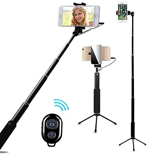 Selfie Stick Trépied, 3 en 1 Perche Selfie Monopode avec Bluetooth Télécommande, AIYOOE Selfie baton avec Miroir pour iphoneX 8 7 7plus 6S 6S Plus Samsung HTC Huawei