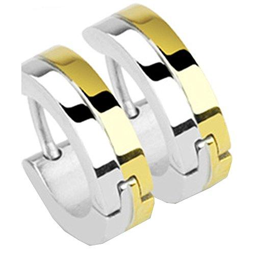 Mianova Unisex Creolen Edelstahl Bicolor Damen Herren Klapp Ohrringe Huggie Kreolen Rund Glanz zweiteilig Gold Silber