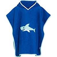 Playshoes Boys Terry Cotton Bath Poncho - Shark - Blue - One Size