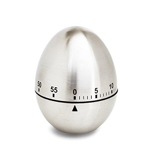 ADE Mechanischer Küchentimer TD 1606. Klassischer Kurzzeitmesser in Ei-Form aus gebürstetem Edelstahl zum Aufziehen. Akustisches Signal nach Zeitablauf. Zuverlässige Eieruhr. Rundskala