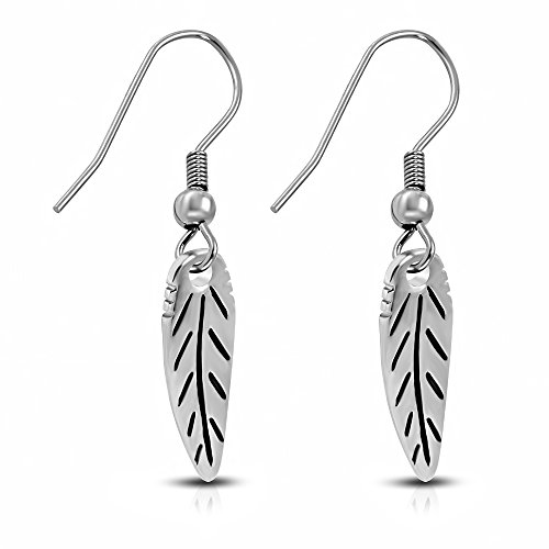 bungsa® foglia orecchini pendenti argento-1paio di orecchini acciaio inox (orecchini gioielli orecchini placcati uomo donne donna mode)