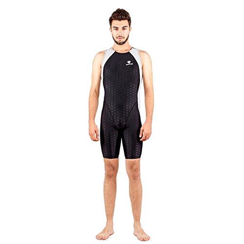 Damen Kostüme Boyleg Schwimmen (Professionelle Damen Wettkampf Badeanzüge Ausdauer Schwimmen Kostüm Racer Legsuit , Grey ,)