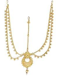 Zaveri Pearls Rajasthani Traditional Design Maangtika for Women (Golden) (ZPFK5619)