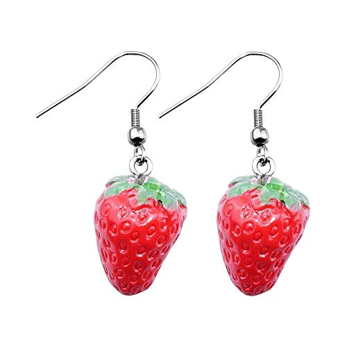Treuheld® | ERDBEEREN Ohrringe/Ohrhänger - süße Erdbeere Hänger fürs Ohr | Obst rot ausgefallene Ohrringe Frucht FRÜCHTE Strawberry Rockabilly Damen Kostüm Karneval Fasching Edelstahl Silber