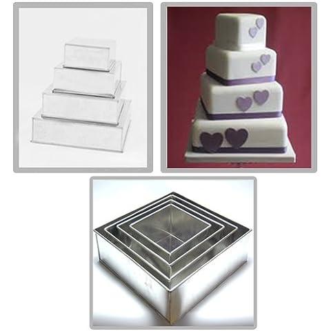 EURO TINS teglia per torta nuziale multistrato 4 strati Quadrata - set da 4 - (Torta Di Quattro Strati)