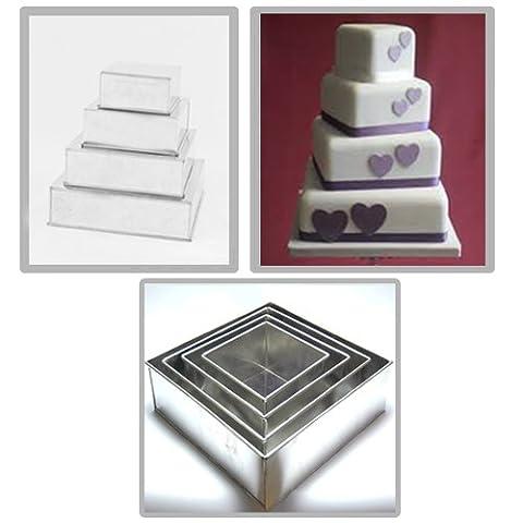 4 Tier Square Multilayer Birthday Wedding Anniversary Cake
