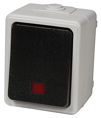 MC POWER - Feuchtraum Kontroll-Schalter | TAFF | 250V~/10A, IP44, AP, grau