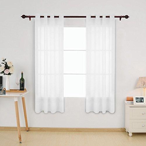 Deconovo 2er Set Vorhang Voile Transparent Vorhänge Wohnzimmer Ösenvorhang Transparent 175x140 cm Weiß 2er set