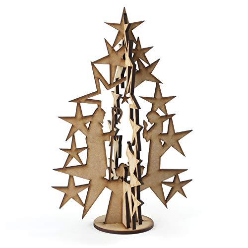 Bymia Weihnachtskrippe Holz für Weihnachten, Basteln, Formen, Baum, Dekoration, Weihnachtsdekoration, Geschenk - Nativity Christmas Tree Set