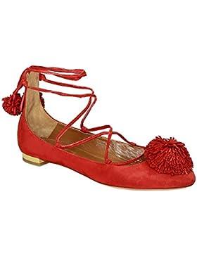 Ballerine con lacci Aquazzura in camoscio rosso - Codice modello: SNHFLAAA0 SUE F00