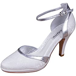 Lindsey May Elena, Damen Pumps, - Ivory/Silver - Größe: 42