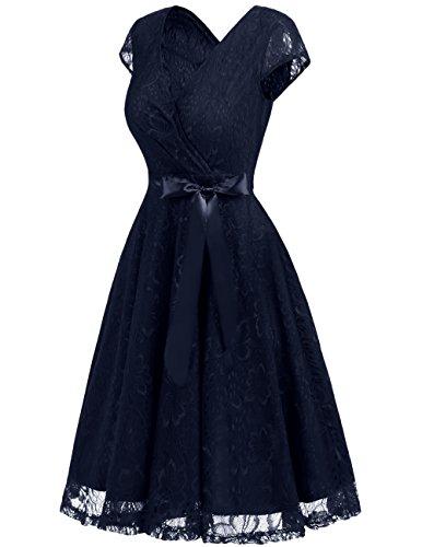 Dresstells Damen Spitzenkleid V-Ausschnitt kurz Brautjungfern Cocktailkleid Abendkleider Navy