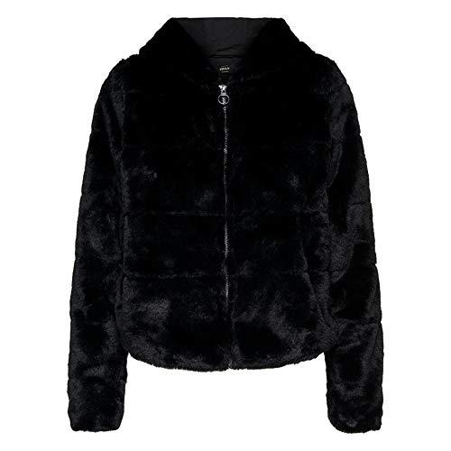 ONLY Damen Jacke onlCHRIS FUR Hooded Jacket CC OTW, Schwarz Black, 40 (Herstellergröße: L)