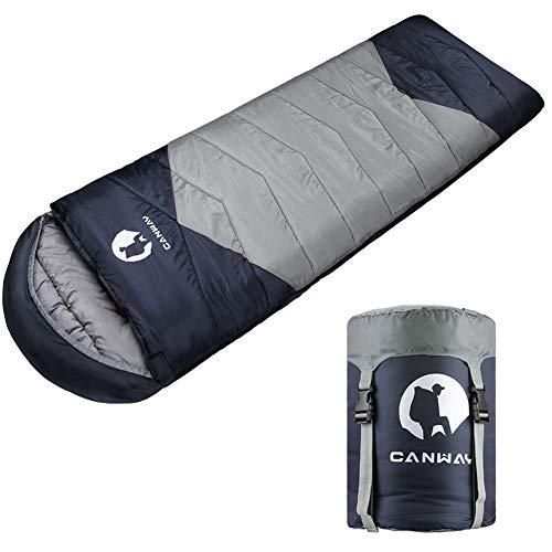 CANWAY Schlafsack Schlafsäcke Mumienschlafsack aus Baumwolle als Füllstoff wasserabweisend für Camping Indoor Outdoor Erwachsene im Winter 1,9KG (Grau-Polyester)