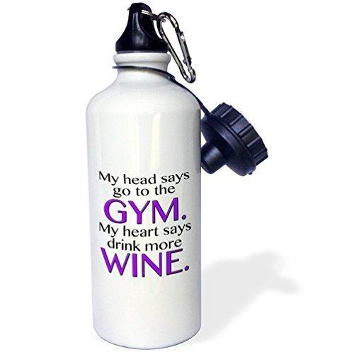 Moson My Head Says Go to The Gym My Heart Sagt Mehr Trinken Wein Lila Sport Wasser Flasche, Klauenhammer/Latthammer, Weiß - Flasche Lila Brita-wasser