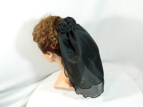 Schleier schwarz kurz Headpiece Gothic Barock Rokoko (Witwe Kostüme Schwarzen Der)
