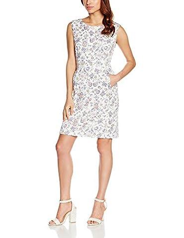 ESPRIT Collection Damen A-Linie Kleid mit Stretch, Knielang, Gr. 34, Mehrfarbig (OFF WHITE 110)