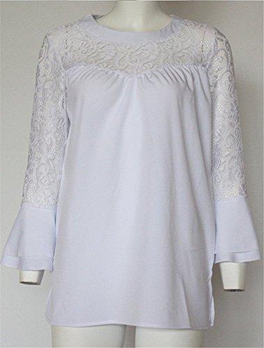 YOGLY Elégante Femmes T-Shirt Chemisier Blouse à Manches Longues Coutures en Dentelle Creuses Chic Tops Blanc