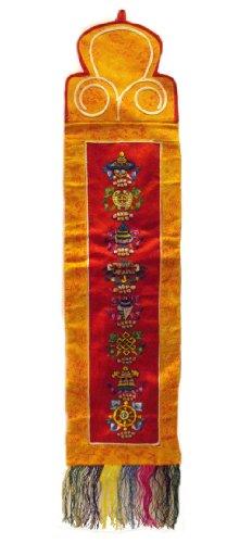 Traditionelle Tibetische Wandbehang mit 8 -buddhistische Symbole gestickt Günstigen - schönes Zuhause Dekoration - Höhe 90cm , Breite 19cm - Fairtrade