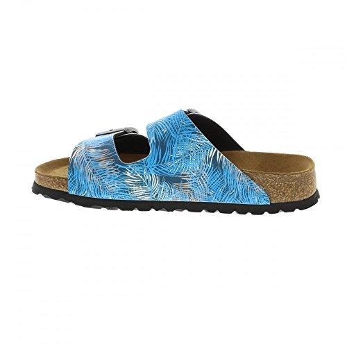 Birkenstock Unisex-Erwachsene Arizona Birko-Flor Softfootbed Pantoletten Tropical Leaf Blue