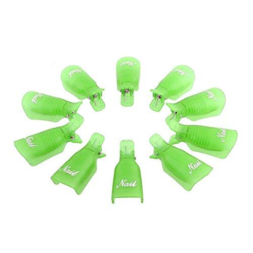 Culater® 10PC Plastique Ongle Art Tremper le Capuchon Pince à Ongles Gel UV Pellicule Outil Vert