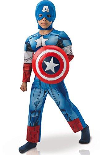 Deluxe Captain America Avengers-Kostüm für Kinder 110/116 (5-6 Jahre)