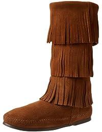 Minnetonka Calf Hi 3-Layer Fringe Boot 1638 Damen Mokassin Stiefel