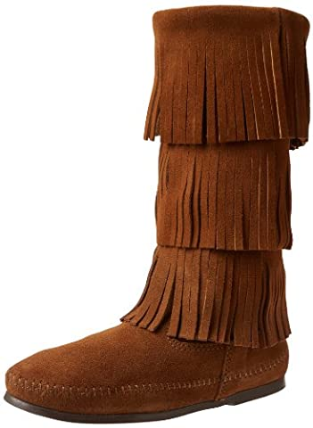 Minnetonka Calf Hi 3-Layer Fringe, Women Mocassins Boots, Brown (Dusty Brown), 5 UK (38 EU)