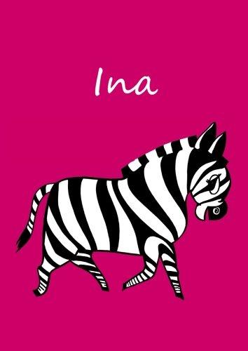 personalisiertes Malbuch/Notizbuch/Tagebuch - Ina: DIN A4 - blanko - Zebra