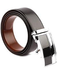 COOVS Men's Leather Reversible Belt (Black Free Size)