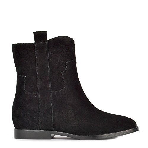 Ash JANE Low Wedge Boots Black Suede 37 Black
