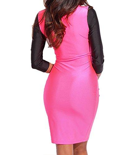 E-Girl Rose noir Deux tonalité découper manches 3/4 Bodycon robe,Noir et rose Noir et rose
