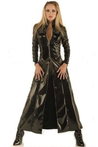 nuovo-donne-instyles-nero-in-finta-pelle-pvc-lungo-gotico-cappotto-fancy-dress-black-large