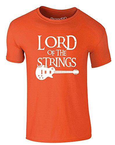 Brand88 - Lord of the Strings (Guitar), Erwachsene Gedrucktes T-Shirt Orange/Weiß