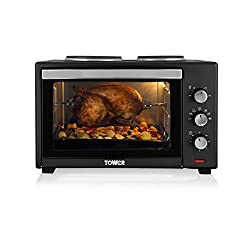 Tower T14014 Stainless Steel Mini Oven with Double Hotplates and Rotisserie, 42 Litre, Black