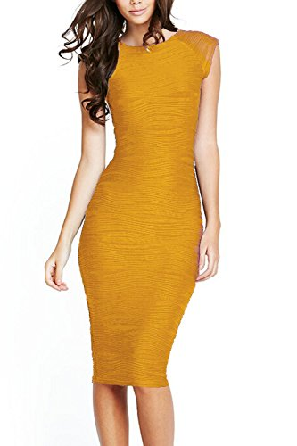 Fordestiny Damen Kurzarm Etuikleid Stretch Cocktailkleid Elegante Business Pencil Kleid Gelb