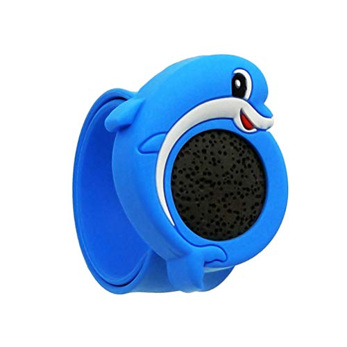 fenical repellente braccialetti forma di delfino silicone pianta naturale fasce repellenti per zanzare pietra vulcanica regolabile per bambini adulti (blu)