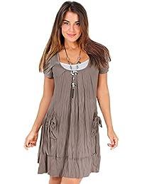 KRISP Damen Tunika Mini Kleid mit Top und Halskette 3in1 Set