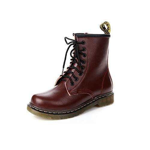 Top Shishang Herren Classic Leder Damen Winter Warm gefüttert Retro Low Heel Martin Stiefel Chelsea Boots & Stiefeletten,Burgund,37 - Heels Chiffon Red