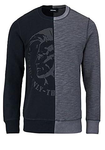 DIESEL Langarm Sweatshirt Rundhals Bicolor schwarz/grau Größe XL