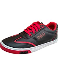 Casual Mens Sneakers Black Shoes With Red Lace Daily Wear