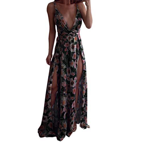 Frauen Sommer Boho Kleid Riemchen Sexy Tiefem V-Ausschnitt Sommerkleid Lange Maxi Party Kleid Strandkleider Mode Elegant Cocktailkleid Bequem Lose Sling Abendkleid Ärmellos A-Linien Kleid