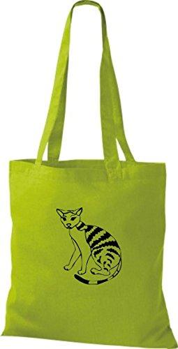 ShirtInStyle Stoffbeutel Katze Motive Rasse Katze Lustige Tiere Züchter Cat diverse Farbe kiwi