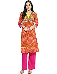 Jaipur Kurti Cotton Complete Set Of Multi Colour Kurta And Pink Palazzo