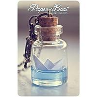 collana bottiglia barca di carta, collana barca origami, collana oceanica, collana fiala di vetro, gioielli origami, collana barca di carta, regalo per le donne, regalo di natale