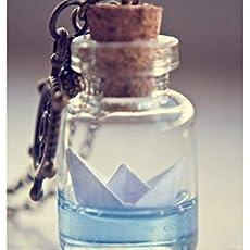 Botella de barco de papel collar. Origami barco lámpara colgante, collar de.