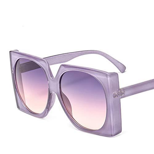 Taiyangcheng Polarisierte Sonnenbrille Weinlese-quadratische Sonnenbrille-Frauen-Neue Art-Steigungs-Sonnenbrille große Rahmen-Brillen für Damen-Schatten,grau rosa